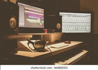 home recording studio, music production concept