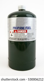 Home and recreational use green quart canister of propane. Vertical.