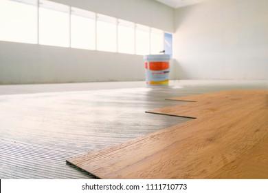 Home renovate with vinyl laminate flooring.