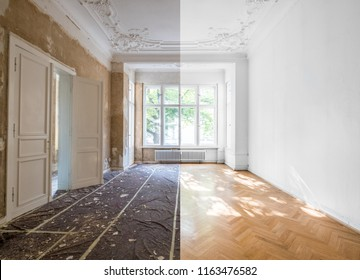 home renovation concept - apartment room before and after restoration or refurbishment -