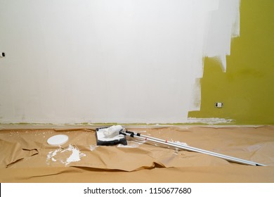 home renovation concept - old apartment during restoration or refurbishment with newly painted white walls