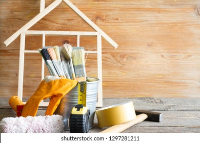Home renovation construction abstract background with tools on wooden boards diy still life