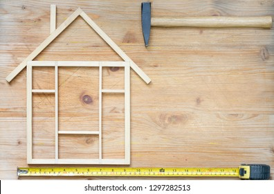 Home renovation construction abstract background with tools on wooden boards top view  and free place