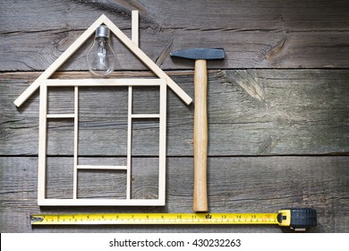 Home renovation construction abstract background with tools