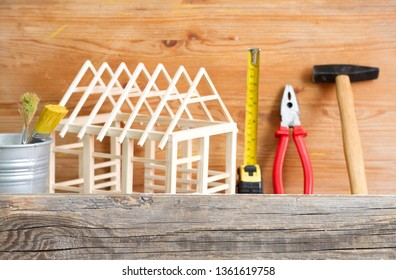 Home renovation construction diy abstract background with tools on wooden board