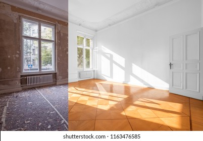home renovation - empty room before and after  refurbishment  -