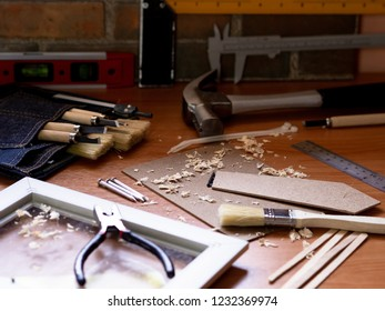 Home renovation improvement, Wood crafting job working desk with many of equipment
