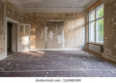home renovation - old apartment room during restoration or refurbishment