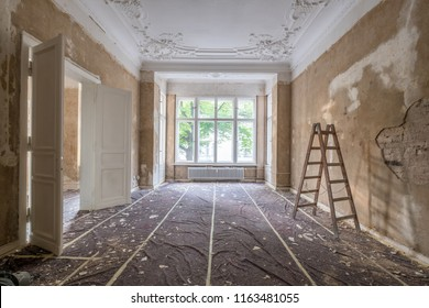 home renovation - old apartment room during restoration or refurbishment