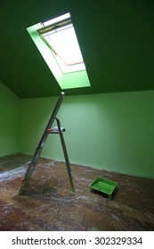 Home renovation, painting a room.