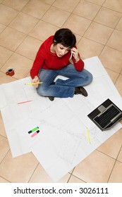 home renovation: young architect working on a project