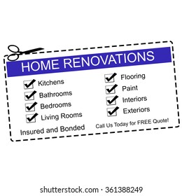 Home Renovations blue coupon with great terms such as kitchens, bathrooms, quote and more.