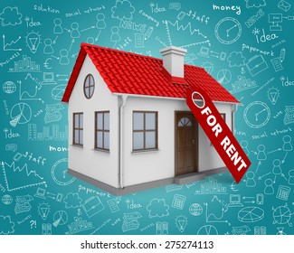 Home for rent real estate sign and small house on abstract blue background with different symbols