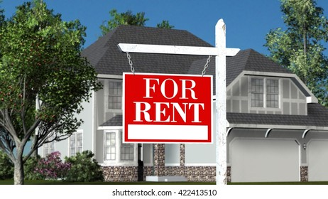 Home For Rent - Real Estate Sign and Beautiful New House - 3D Rendering