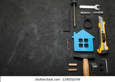 Home repair service, abstract hardware building. Construction creative concept. Copy space for text.
