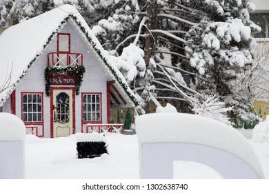 Home of Romanian Santa Claus at the City. Romanian Santa Claus called Mos Criciun.