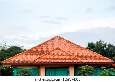 Home Roof Tile, Roof Thailand Country House with clear sky background.