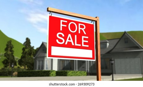 Home For Sale Real Estate Sign in Front of Beautiful New House