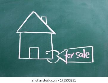 home for sale written on blackboard