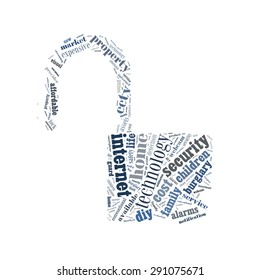 Home security conceptual presented in word cloud
