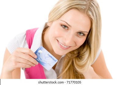 Home shopping - young woman holding credit card on white background