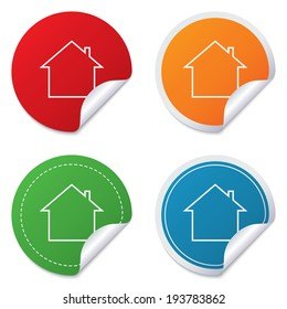 Home sign icon. Main page button. Navigation symbol. Round stickers. Circle labels with shadows. Curved corner.