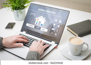 home smart system automated connection room thermostat control display monitoring laptop house remote internet light app technology concept - stock image