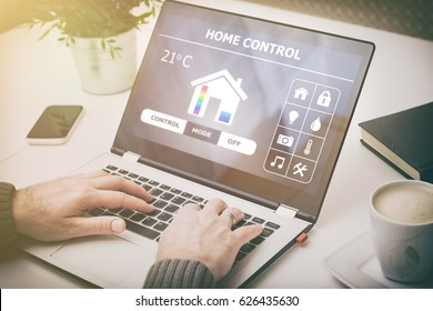home smart system automated connection control monitoring laptop house