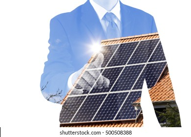 home with solar panels and business man