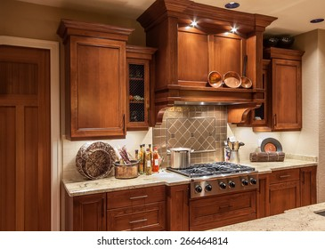 Home Stove Top Range and Cabinets in New Luxury House