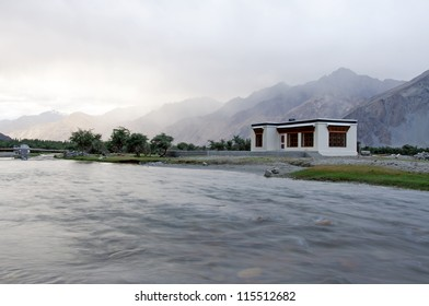 Home and stream in Nubra valley, Ladakh, India