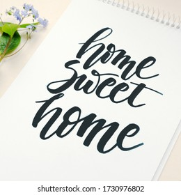 home sweet home, calligraphic background