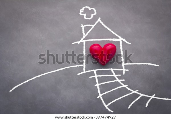home sweet home house drawing with red heart on grey background