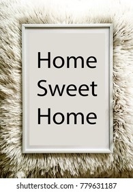 Home sweet home photo with soft white pillow background