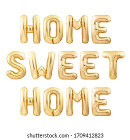 Home sweet home phrase made of golden inflatable balloons isolated on white background