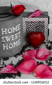 home sweet home plus heart and petals