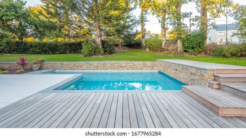home swimming pool in garden and terrace