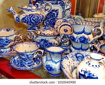 Home tableware in Russian traditional Gzhel style. Closeup. Gzhel - Russian folk craft of & Russian Folk Craft Images Stock Photos \u0026 Vectors | Shutterstock
