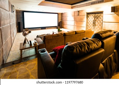 Home theater with big screen.