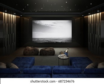 Home Theater room , Luxury interior 3D render
