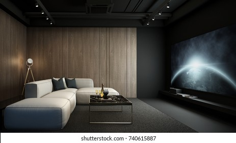 Home theater room, modern interior, 3D render