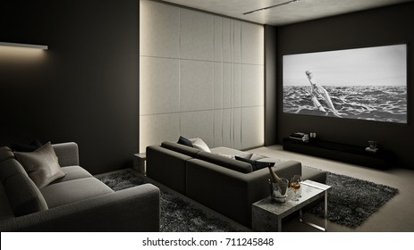 Home Theater room , Modern Luxury interior #2 , 3D render