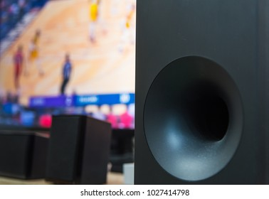 Home theater subwoofer with a flat screen tv on the background