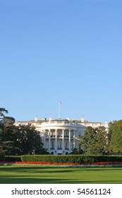 The home of the United States President, the White House, South lawn.