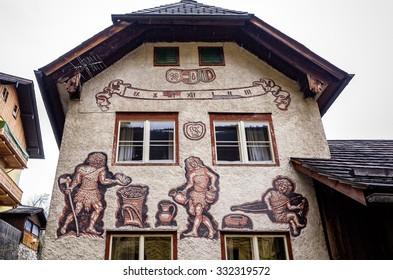Home wall decor With paintings, art City HALLSTATT, AUSTRIA