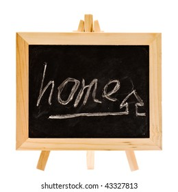 Home words and image write by hand on blackboard.