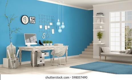 Home workplace, scandinavian white and blue room, corner office, classic minimalist interior design, 3d illustration