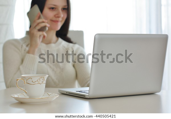 Home workplace with tea, close up