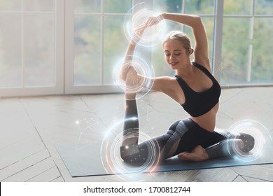 Home yoga class. Flexible young woman making asana in light room, collage with copy space