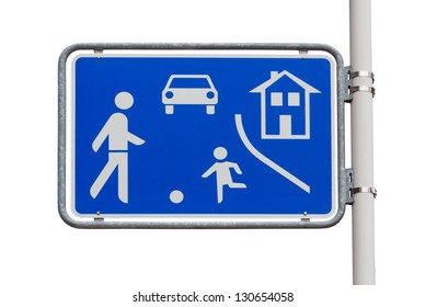 Home zone entry road sign on white background